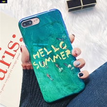Cyato Blu-ray Glossy Dophin Sea English Words Hello Summer Phone Case For iPhone 6 6S 7 8 Plus X Shell Back Cover Coque Bags