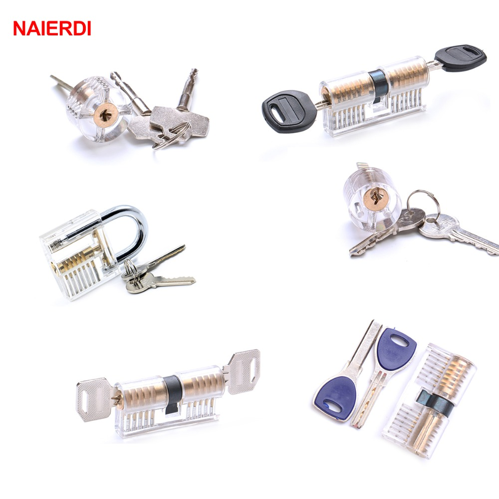 NAIERDI 6PCS Transparent Visible Cutaway Practice Locks Portable Padlock Hasp Pick Training Skill For Locksmith Hardware