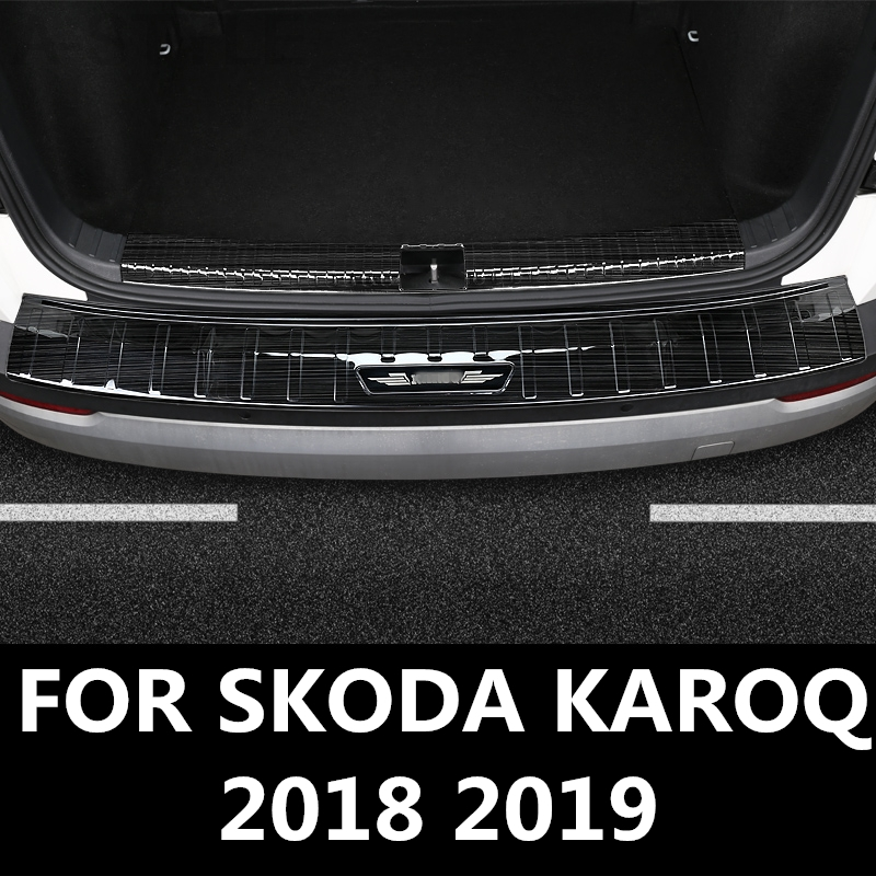 Car steel Exterior/&Interior Rear Trunk sill plate cover For Skoda Karoq 2018
