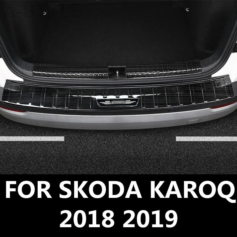 Для SKODA KAROQ 2018 2019 нержавеющая сталь наружный задний багажник бампер Накладка порога автомобильные аксессуары нержавеющая сталь|Хромирование|   | АлиЭкспресс