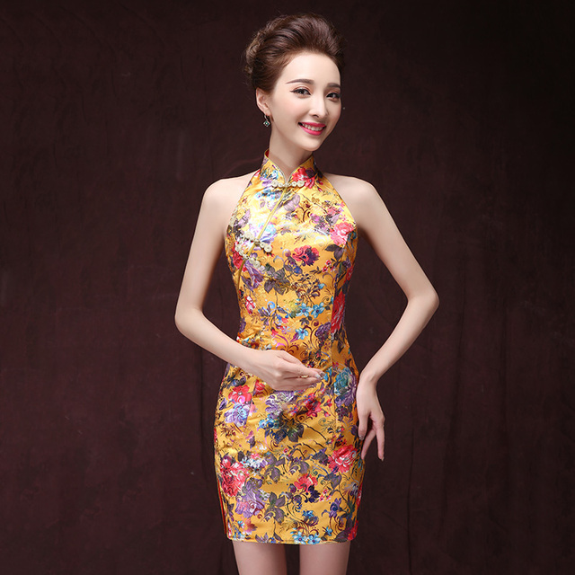 Spring Summer Elegant Embroidery Cheongsam Dress for Women Slim Sexy Fashion Halter Vintage Slim Short Qipao Dress Gold Pink