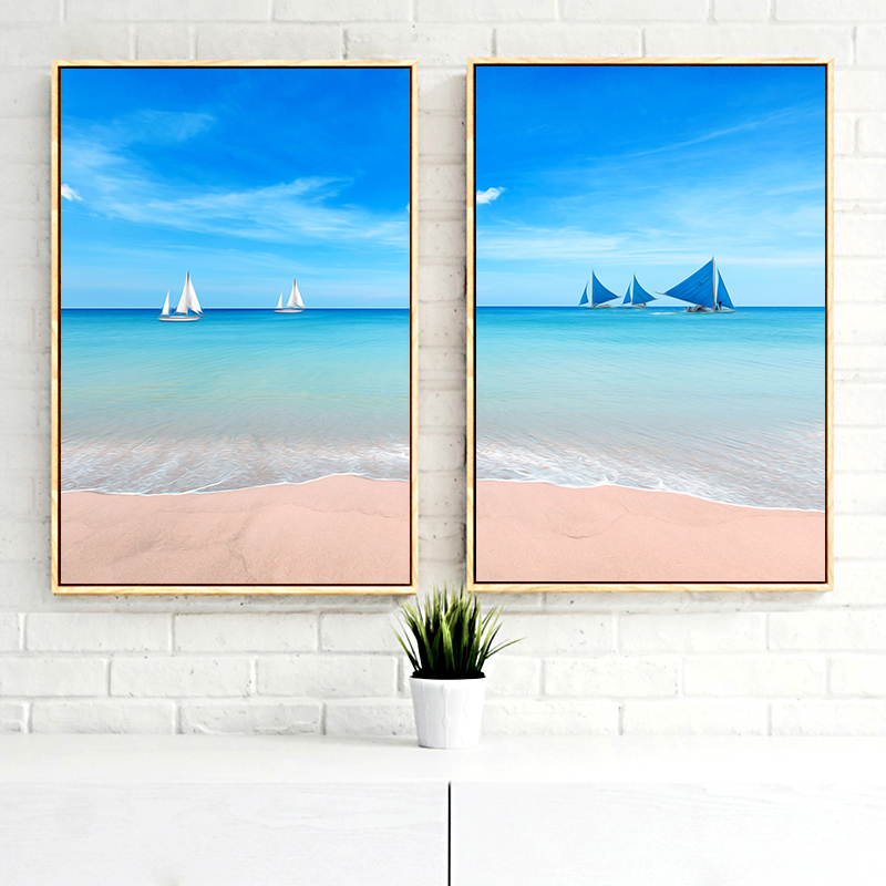 Canvas Painting Beach And Sunshine Sailing Flamingos Seascape