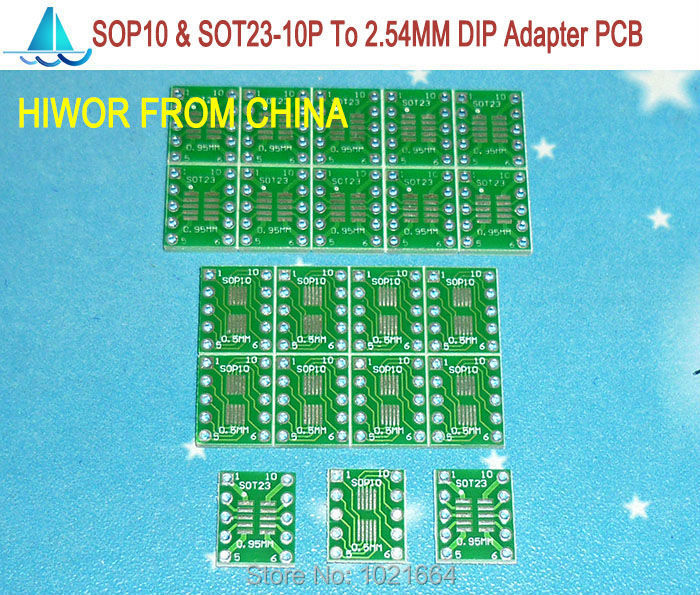 50pcs/lot 0.95MM Pitch SOT23-10P & 0.5MM Pitch SOP10P To DIP10 SMD Adapter To DIP PCB Pinboard SMD Converter
