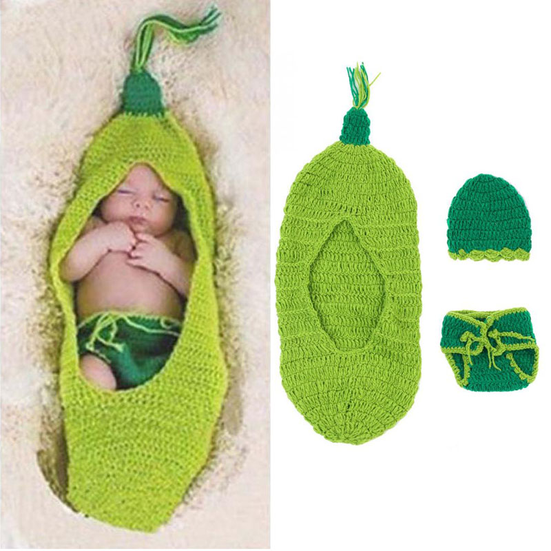 Newborn Baby Sweater Suit Photo Photography Props Outfit Silkworm Sleeping Bag Crochet Knit Costume Blankets With Pants And Hat cute newborn baby girls boys crochet knit costume photo photography prop outfit one size baby bodysuit hat 2pcs