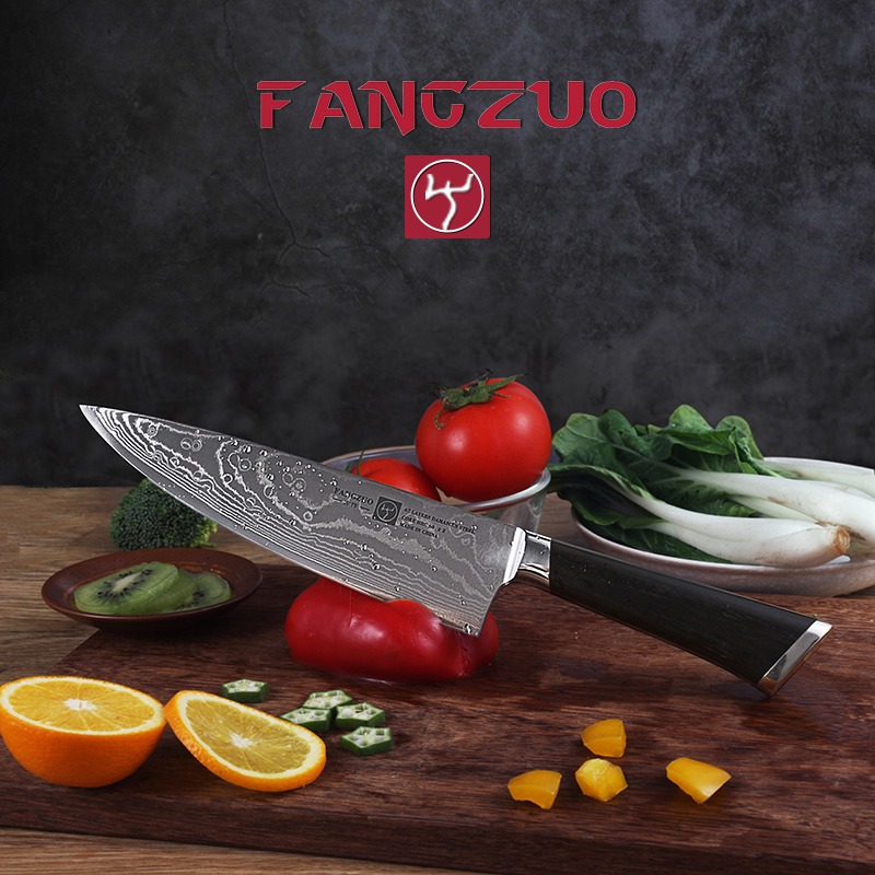 FANGZUO 8 inch Kitchen Knives Stainless Steel head Ebony Wood Handle Japanese 67 layer Damascus Gyuto chef Knife Cooking tools in Kitchen Knives from Home Garden