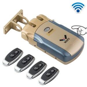 Image 1 - Беспроводной БЕСКЛЮЧЕВОЙ входной электронный удаленный дверной замок Wafu 433 МГц, невидимый интеллектуальный замок с 4 дистанционными ключами Wafu010