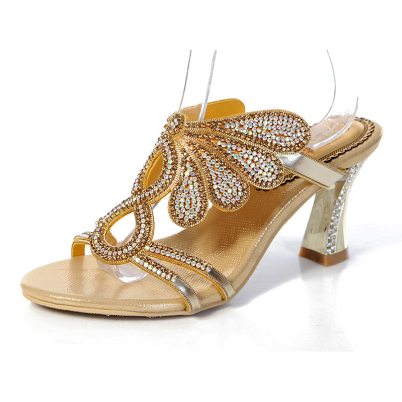 759a5bde73f0 2017 New Golden Luxury Diamond High Heels Slippers Online Shopping Peep Toe Women s  Shoes Sandals Sale High Quality
