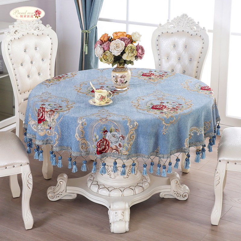 Proud Rose Chenille Table Cloth European Round Tablecloths Pendant Thicken Tea Cover Customized Hotel Supplies
