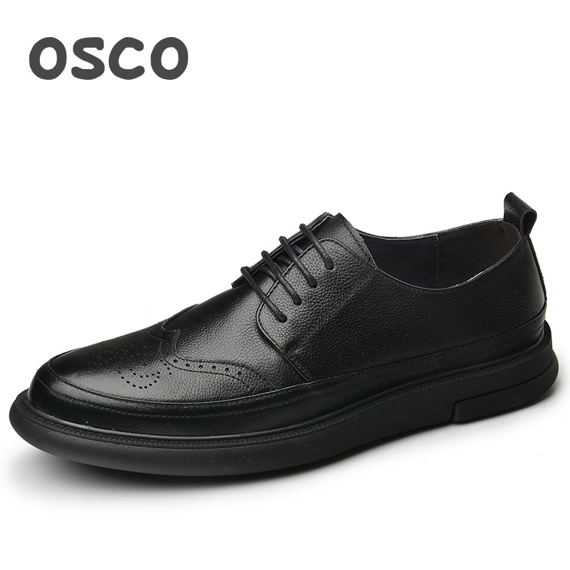 OSCO Genuine Leather Shoes Men Spring/Autumn British Brogue Carved Men Shoes Lace-up Round Toe Business Casual Dress Shoes osco men shoes spring autumn genuine leather business casual shoes round toe slip on comfortable low shoes office work shoes