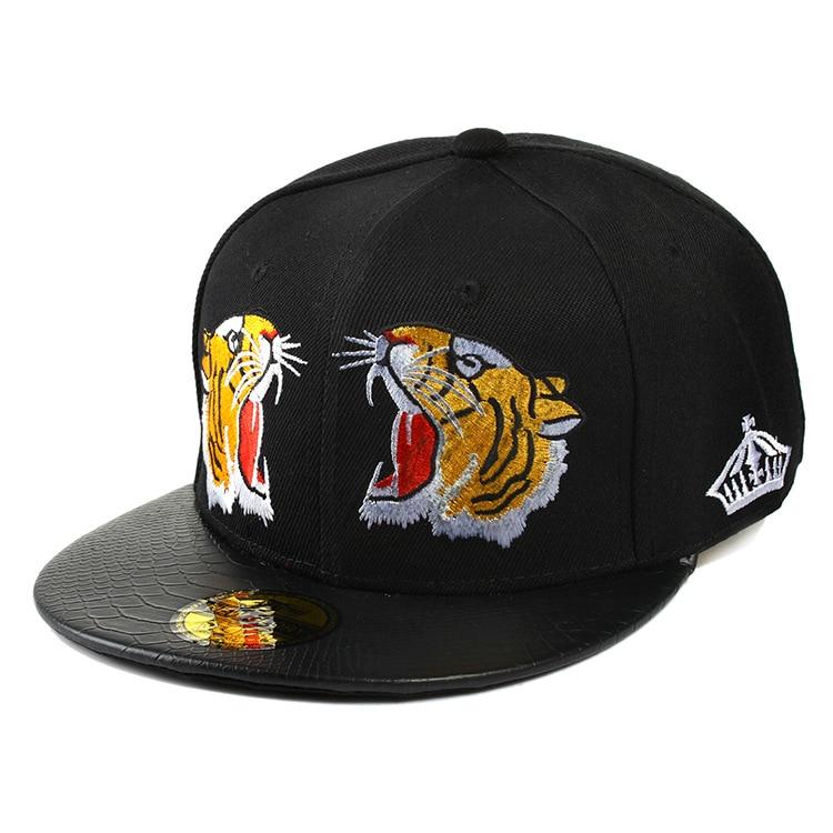 CERU002 Fashion Solid Black Tiger Embroidery Hip Hop Women's Hats Snapback Men Cotton   Baseball     Caps   Casquette Bone Gorros