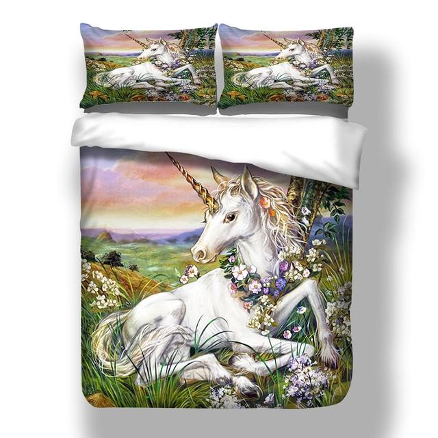 3D Unicorn Bedding Set Queen Size Watercolor Print Bed Set Kids Girl Flower Duvet Cover Colored Dreamlike Bedlinen