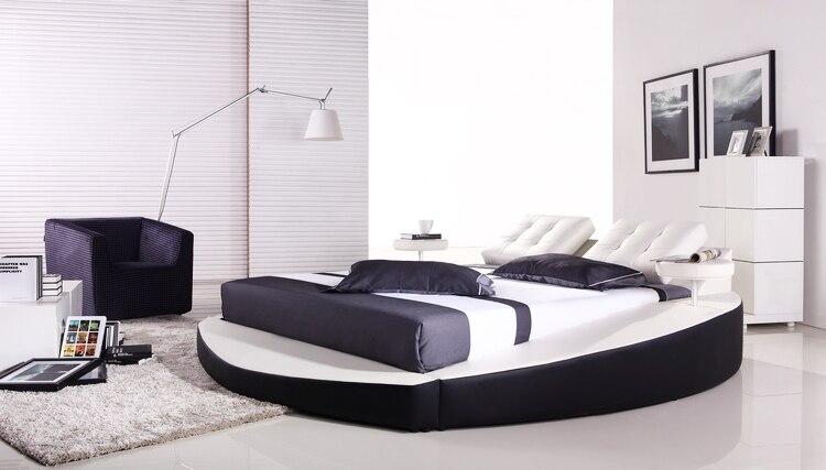 bedroom furniture european modern design top grain leather large king size soft bed