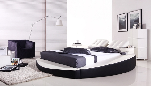 Bedroom Furniture, European Modern Design, Top Grain Leather, Large King Size Soft Bed with bedside Cabinet, Round Bed A066