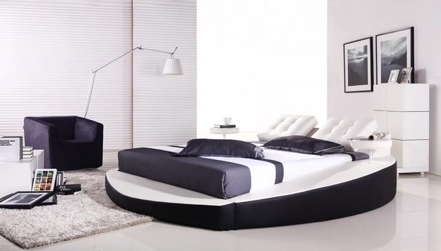 bedroom furniture european modern design top grain leather large king size soft bed - European Bed Frame