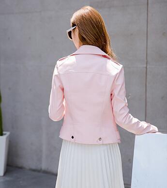 De Fille 2017 Mode Moto Automne Printemps Rose Femmes Vestes Manteaux En Mince Cuir Veste Nouveau Style PA5FCqw