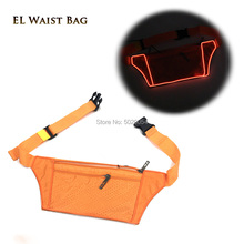 GZYUCHAO EL Simple Pure Color Neon Glowing Running Waist Bag Women Men Adult Moblie Phone Money Light Up EL Fanny packs