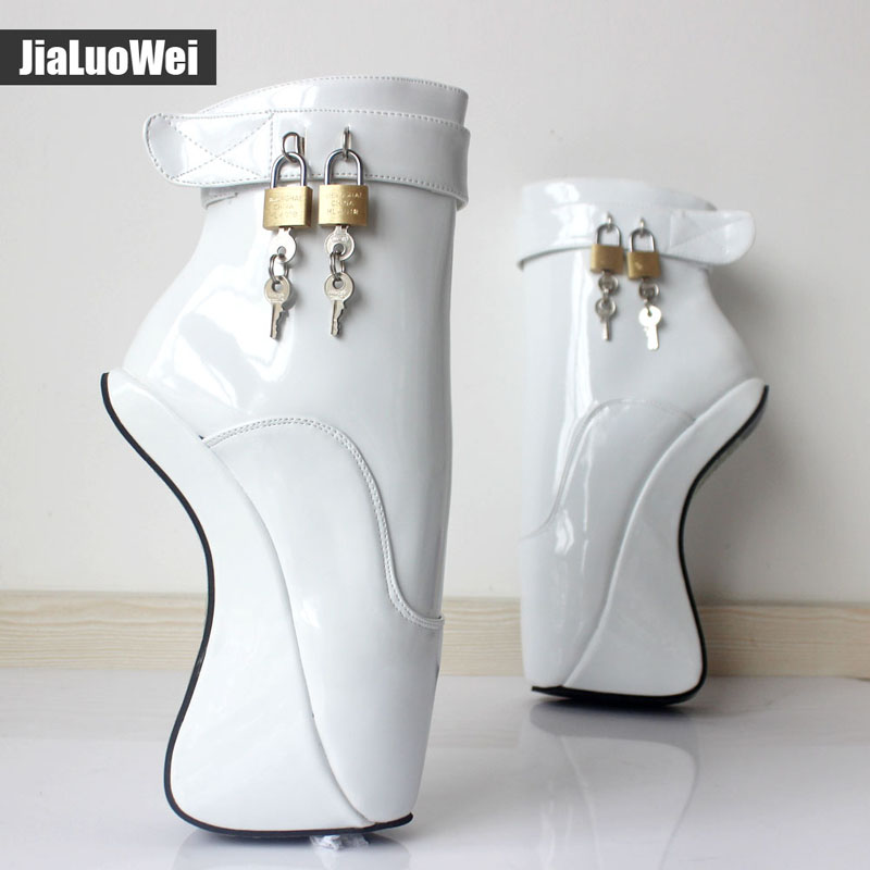 Women Fashion Sexy Fetish Ankle High Heel Pumps Suede Buckle Stiletto Thin Heelless padLocks Boots Gold Shiny Ballet Style Shoes