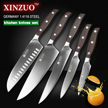 XINZUO NEW High quality 3.5+5+8+8+8inch paring utility cleaver Chef bread knife stainless steel Kitchen Knife sets free shipping