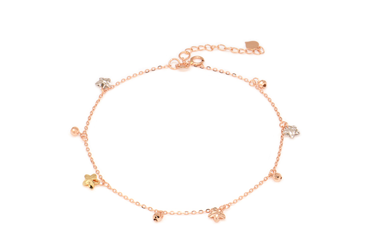 18K rose gold color gold hanging five-pointed star laser beaded chain 18k gold anklet female models