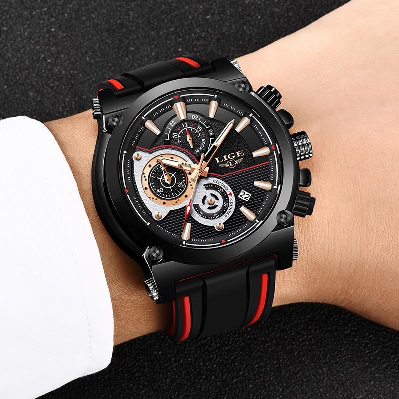 LIGE New Mens Watches Top Luxury Brand Men Unique Sports Watch Men 39 s Quartz Date Clock Waterproof Wrist Watch Relogio Masculino in Quartz Watches from Watches