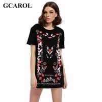 GCAROL 2017 Women Floral Embroidery Jacquard Dress Euro Style Casual Fashion Black Dress Eearly Spring Summer Dress