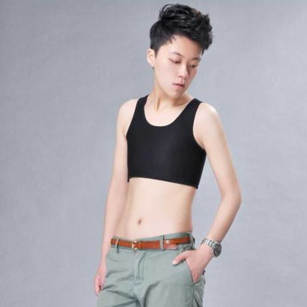 Casual Breathable Buckle Short Chest Breast Binder Tran Vest Tops Black and White Short Corset Tee Tops