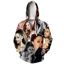 YX Girl Plus size 7XL Character Patchwork Hoodies Women Men Ariana Grande Hooded Sweatshirt Zipper Hoodie Unisex Casual Clothes