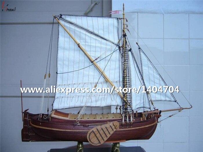 Model NIDALE klasyczne drewniane żagiel Model łodzi montowane skala 1/50 Holland jacht 1670 żaglowiec Model drewniany zestawy w Zestawy modelarskie od Zabawki i hobby na  Grupa 1