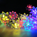Solar energy Powered 5M 20 led Outdoor LED Copper Wire Colourful Lotus Flowers String Lights for Christmas Holiday Party light