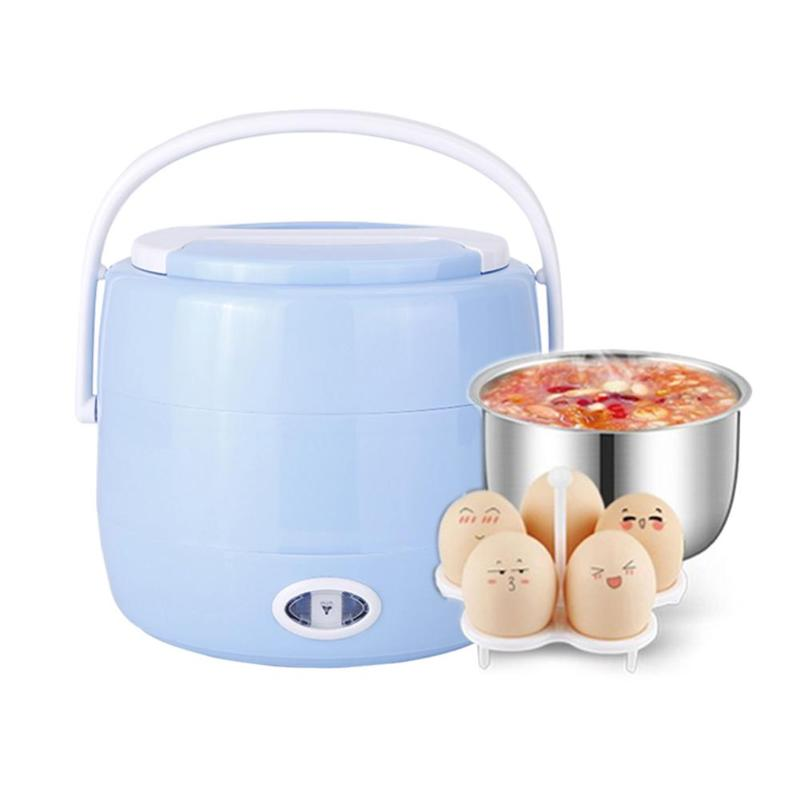 Portable Single/Dual Layer Electric Heating Lunch Box 2L 230V 200W PTC Rice Cooker Steamer Food Warmer Container Thermal Box 2per lot 2 2l 4 layer square rice cooker 2 2l small appliances electric lunch box electronic heating lunch box