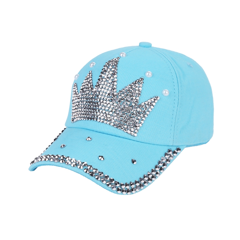 Women Benn Caps Hat Crown diamond pearl  Adjustable cap Kid Studded Rhinestone Cap Crown Pattern Faux Pearl Hat