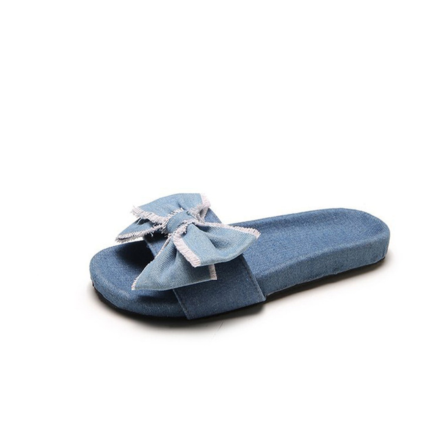 bdb798b67 summer slippers wome denim flip flops peep toe flat casual bow sandals beach  ladies slides shoes