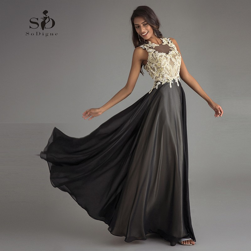 Black Formal Gown Champagne Lace Appliques Vintage Womens Evening Gowns Keyhole Backless A-line Chiffon Long Party Dresses