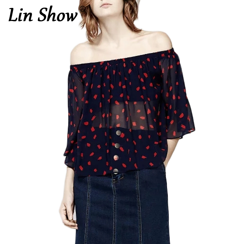 LINSHOW Slash Neck Printed Hot 2017 Chiffon Blouse Half