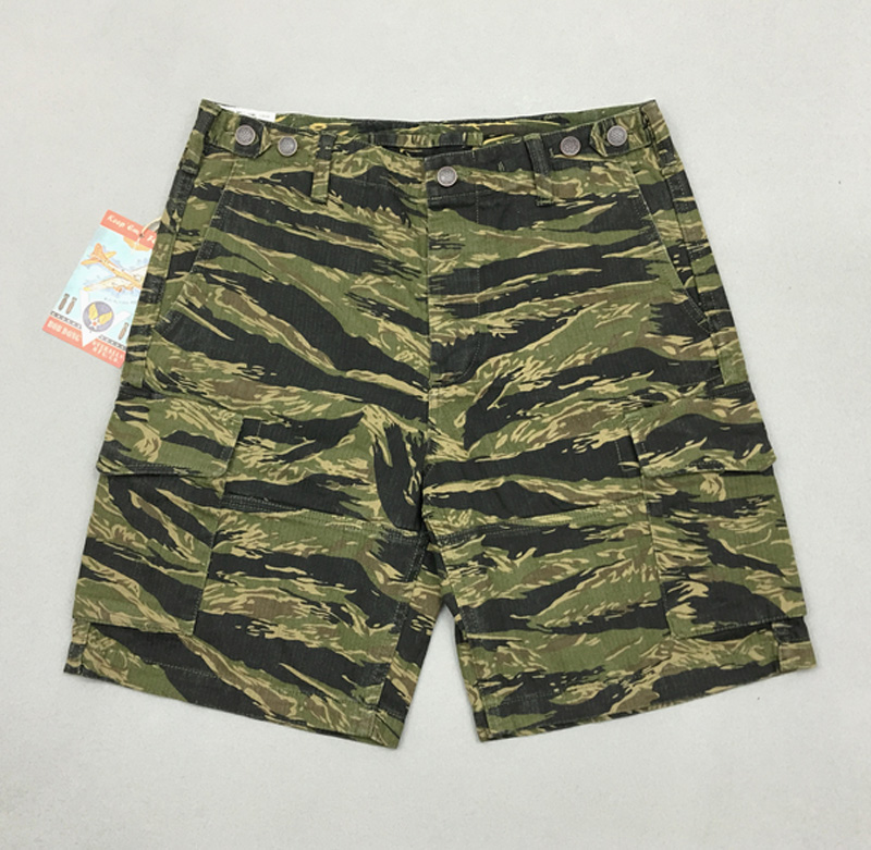 Bob Dong Men's HBT Camo Shorts Summer Military Tiger Stripes Shorts Camouflage  Tiger Stripepattern Plus Size Straight Short