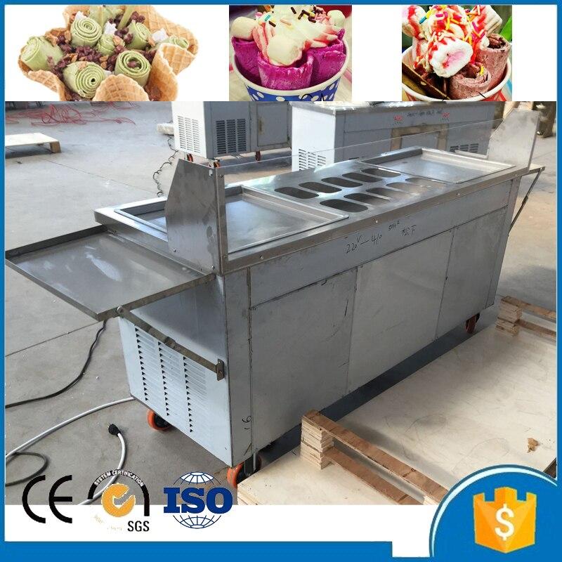 Trasporto libero da aria/mare di alta qualità doppio quadrato pan fried ice crema macchina con 10 serbatoi e frigorifero di raffreddamento ice cream roll - 2