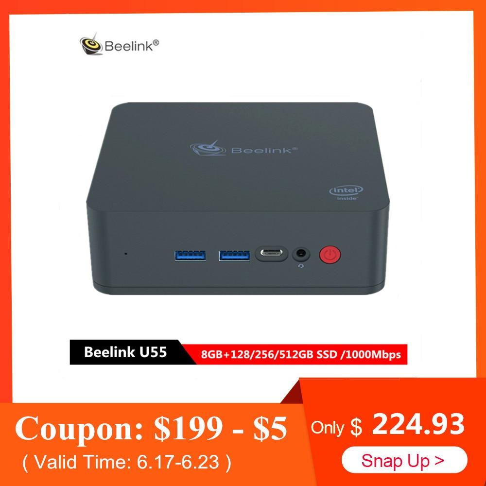 Beelink U55 Mini PC Intel Core I3-5005U Intel HD Graphics 5500 Win10 home décodeur 8 GB 128/512 GB SSD 1000 Mbps BT4.0 WiFi Box