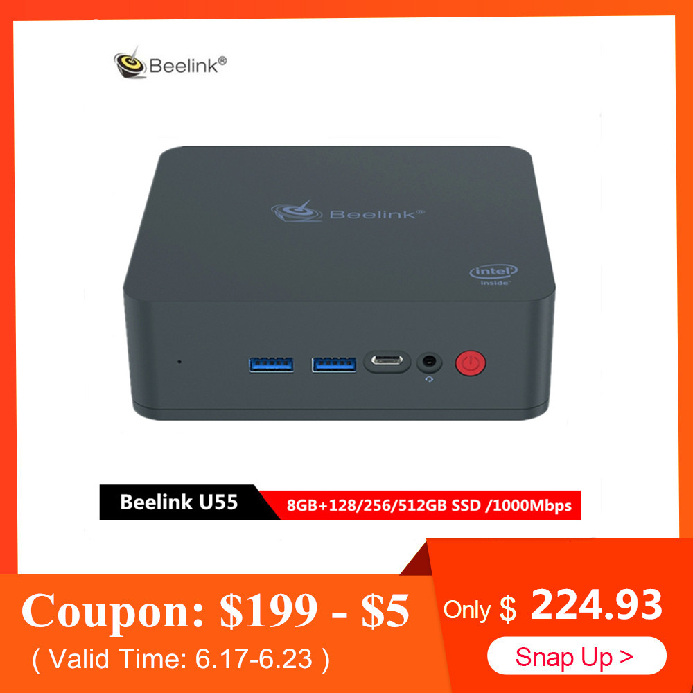 Beelink U55 Mini PC Intel Core Intel HD Graphics 5500 Win10 I3-5005U casa Set Top Box 8 GB 128/ 512 GB SSD 1000 Mbps BT4.0 Caixa de Wi-fi