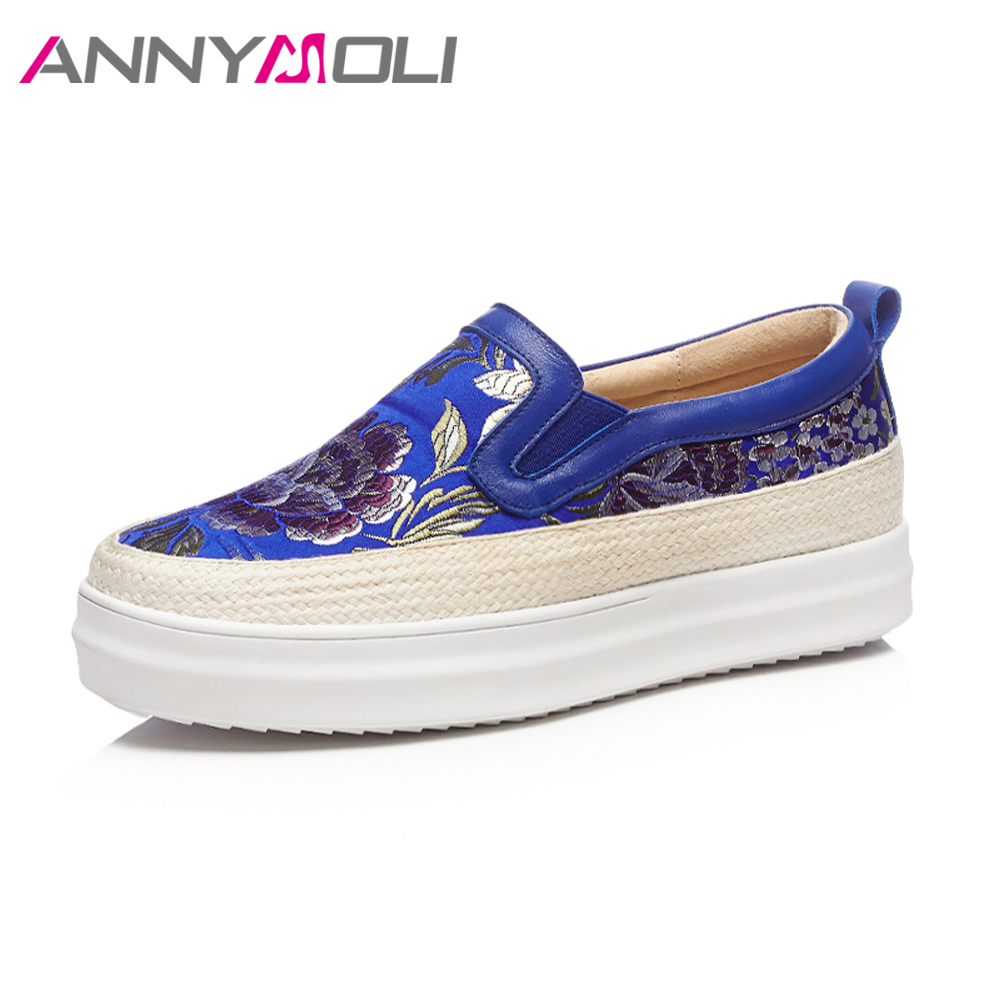 ANNYMOLI Genuine Leather Shoes Women Flat Platform Silk Embroider Shoes Spring 2018 Flower Creepers Ladies Slip On Loafers Blue annymoli women flat platform shoes creepers real rabbit fur warm loafers ladies causal flats 2018 spring black gray size 9 42 43