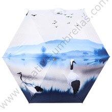 цены на Anti-thunder fiberglass windproof 5 times black coating anti-UV parasol pocket mini digital 3D print can&forest paint umbrella  в интернет-магазинах