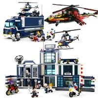 Город серии SWAT полицейский вертолет наборы фигурки грузовик автомобиль строительных блоков Детские игрушки мотоцикл подарок