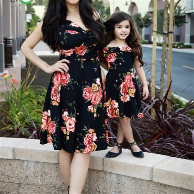 71f797d955d9b US $5.06 14% OFF|New 2018 Mother Daughter Dresses Summer Mother And  Daughter Clothes Family Matching Dress Kids Printed Vestidos Mom Padded  Dress-in ...