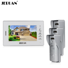 "JERUAN Home 7"" TFT video door phone intercom system 1 white monitor + waterproof metal pinhole Cameras open the door In Stock"