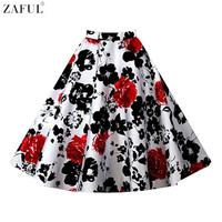 ZAFUL Brand Floral Print 60s Vintage Skirts Summer Women Casual Skirts Plus Size L 4XL Feminino