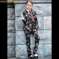 2018 Новый Осенняя Одежда для девочек комплект костюмы для девочек принтом Boutique Детский комплект Размеры 100 160 см наряды Mariage Костюм для девоче