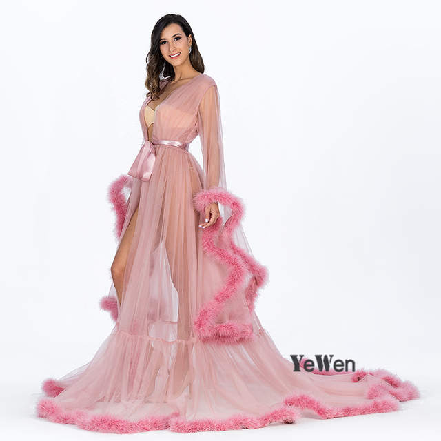 YeWen Vestido De Festa Feather Long Sleeve Tulle Party Evening Dresses 2019  Sexy Burgundy Formal Prom 13527adbef70
