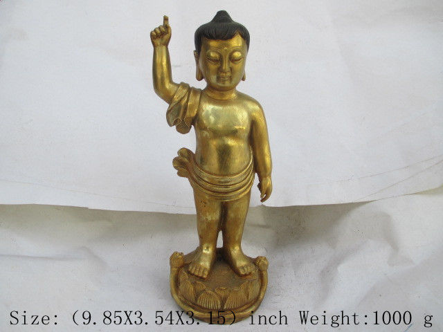 Chinas Tibet Buddhism brass. Stand lotus statue of the BuddhaChinas Tibet Buddhism brass. Stand lotus statue of the Buddha