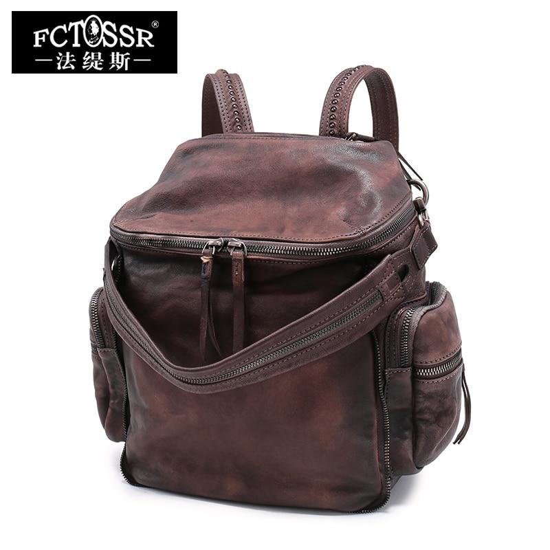 2018 New Retro Genuine Leather Women Backpack Original  Women Leather Shoulder Bag Handmade Female backpack
