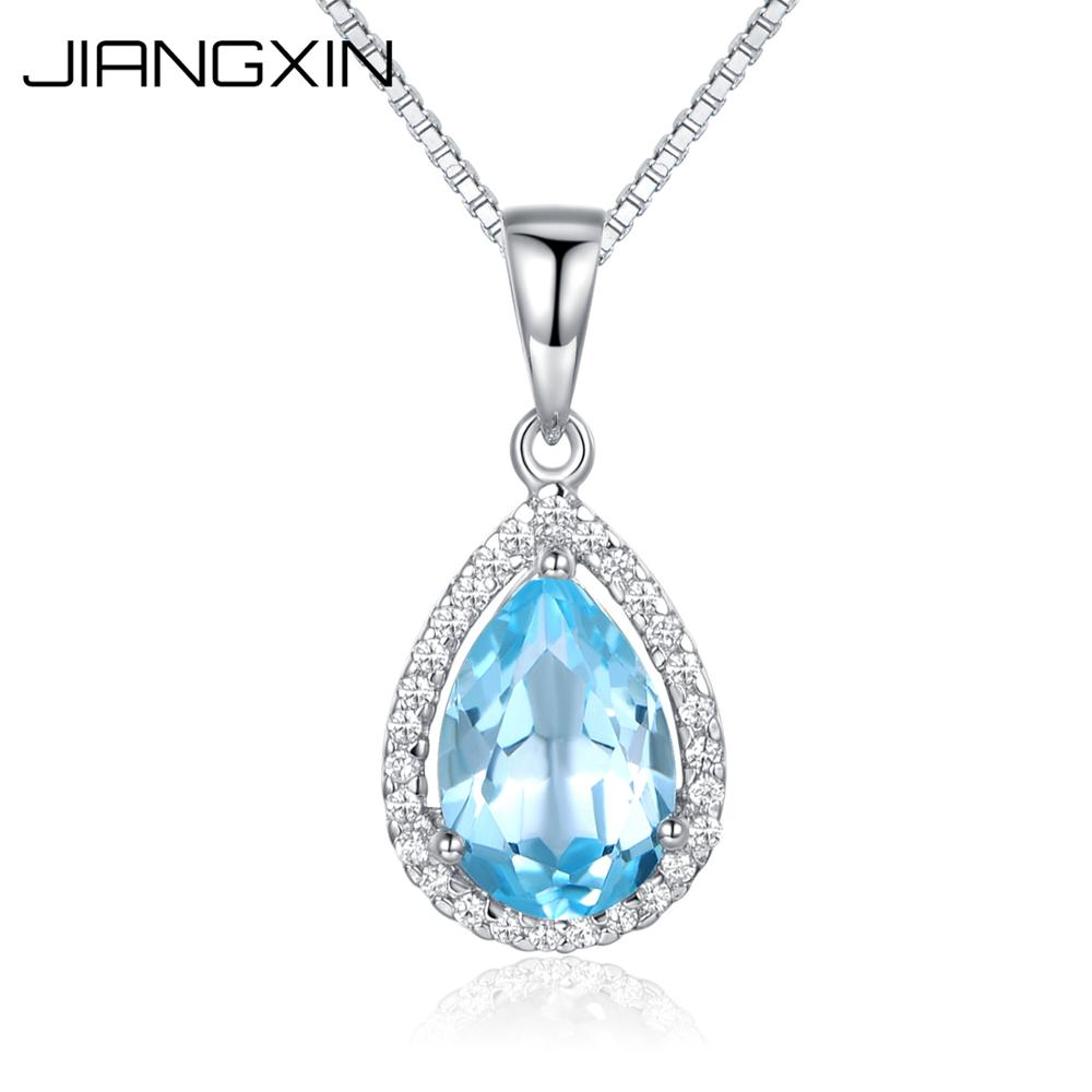 Women's 925 Sterling Silver Elegant Pear Cut Natural Sky Blue Topaz Pendant 18