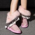 Новые Моды для Женщин Сапоги Зима Снег Сапоги Шерсти Экспорт Имитация Лиса Меховые Сапоги Большие Обувь Труба Высокая Бахромой Сапоги Piwama